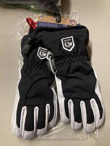 ! Hestra Army Leather  Heli Ski Snowboard Female Gloves Size 8 Black/Off White