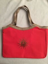 Guerlain Red Canvas Gold-Tan Burlap Handles Event Tote  - NEW