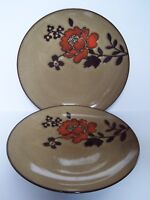 Tabletops Unlimited Ibiza Brown Dinner Plates Set of 2 Floral
