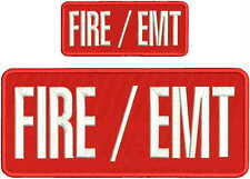 FIRE / EMT EMBROIDERY PATCH  4X10 AND 2X5 HOOK  ON BACK  RED/WHITE