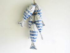 NAUTICAL BLUE/WHITE 5 shabby chic Wooden Fish On String Hanger Windchime.....