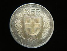 1951 B SWISS 5 FRANCS SILVER COIN - LOVELY & ORIG. TONING