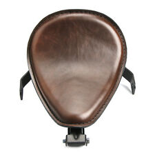 "Motorcycle Brown leather SOLO Seat Saddle Bracket 3"" Spring Custom Bobber"