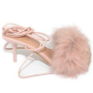 Scarpe donna sandalo rosa cipria mules pelliccia con tacco martini 9 cm lacci al