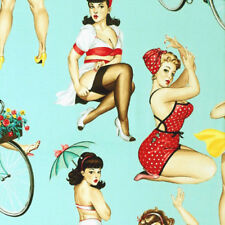 Alexander Henry GOOD AND PLENTY Curvy Pin Up Girl Fabric - Mint