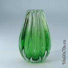 Glas Vase Barovier & Toso Rippenvase grün H=18,6 cm 50s Design #401