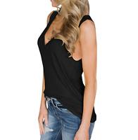 Womens V Neck Tank Tops Sleeveless Henley Shirt Button Up Ribbed Long Tunic Tees