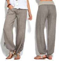 US Women's Wide Leg Pants High Waist Casual Loose Solid Color Trousers Plus Size