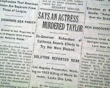 WILLIAM DESMOND TAYLOR Actor & Director re. MURDER Mystery 1929 Old NY Newspaper