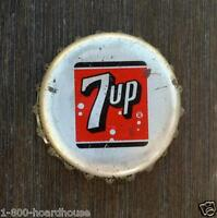 5 Vintage Original 1930s 7-UP SODA Bottle Cap 7up Stock Bubble Lithiated Used