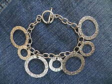 Sterling Silver Charm style Bracelet w/ Hammered Circles Taxco Mexico