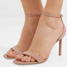 NEW $725 Saint Laurent Amber Patent Leather Sandal Heels Nude Size EU 40