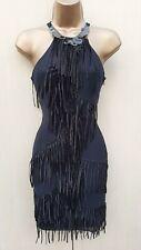 10 UK KAREN MILLEN Black Silk Art Deco Fringe Gatsby Flapper Cocktail Dress