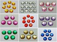 50 Acrylic Flatback Rhinestone Round Gem Beads 18mm No Hole Colour Choice