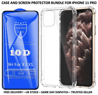 IPHONE 11 PRO CLEAR SHOCKPROOF CASE & 10D TEMPERED GLASS PROTECTOR BUNDLE
