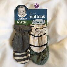 GERBER SZ 0-3M NEW Baby Boy 4-Pack Organic Cotton Dinosaur Mittens