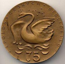 Médaille bronze, spolek écrivains bibliofilů, république tchèque, bibliophilen, cygne swan