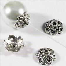 Lot 20 Calottes pour bijoux Fleurs Métal style tibétain 11 x 4 mm / Trous 2mm