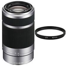 Sony E 55-210mm f/4.5-6.3 OSS E-Mount Lens (Silver) + 49mm UV Filter