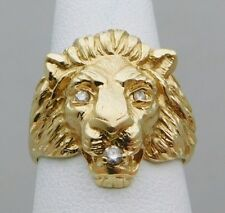 VINTAGE Solid 14k Yellow Gold / Diamonds LION Men's Ring Size 8.25