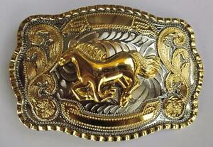 NEW RUNNING HORSE GOLD SILVER HUGE RODEO BIG COWBOY WESTERN SHINE BELT BUCKLE