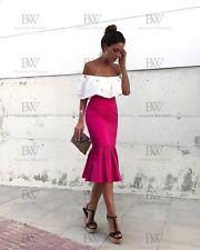 Zara Fucshia Pink Frilled Midi Skirt Size X SMALL BNWT