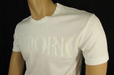 New Emporio Armani Men Signature White Trendy T-Shirt Crew Neck Size Medium