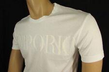 New Emporio Armani Men Signature White Trendy T-Shirt Crew Neck Size Medium
