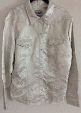 Roper Ladies Western Show Shirt Sz XL Silver Shiny Metallic Silver Gray Lining
