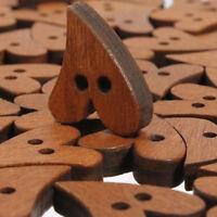 100 pcs lot Brown Wood Wooden Sewing Heart Shape Button Craft Scrapbooking 20mm