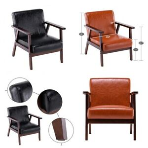 Retro Vintage Leather Armchair Sofa Accent Chair Cafe Seat Bench Bedroom
