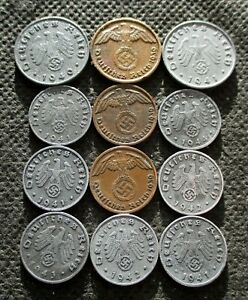 AUTHENTIC OLD COINS OF THIRD REICH GERMANY SWASTIKA WORLD WAR II - MIX 796