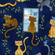 Fabric Cats Day Dreaming Birds Window Vine on Navy Cotton by the 1/4 yard