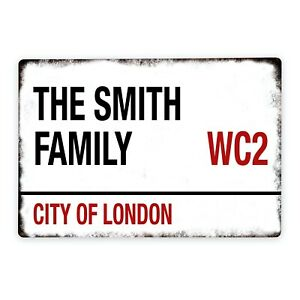 Personalised Metal Family Road Sign City Town Postcode New Home Gift 200 x 300mm