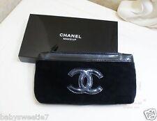 Chanel Beauty Makeup Trousse Bag Iphone Pouch Clutch Black Velvet
