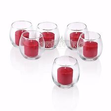 72 Clear Glass Hurricane Votive Candle Holders & Red votive candles Burn 10 Hrs