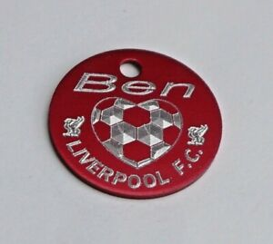 LIVERPOOL KEY TAG BAG TAG PERSONALISED NAME LOVE LIVERPOOL FC 25MM RED ROUND TAG