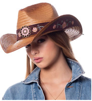 Cowgirl Hat Pink Flower Straw Vintage Leather Western Concert Women's Cowboy Hat
