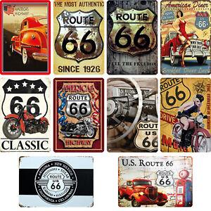 Blechschilder legendären Highway USA Route 66  20x30cm Biker Deko Kellerbar Bar