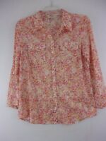 Ann Taylor Loft Small Lightweight Floral Print 1/2 Sleeve Button Front Blouse