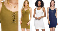 Women's Solid Laced Front Tank Dress Sleeveless Mini Soft Stretch Knit Basic