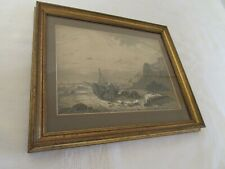 Antique 19th Victorian signed drawing coastal landscape Pen & Ink 1867 Lovell