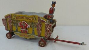 Antique Folk Art Painted Wood Barnum's Animal Circus Wagon Applied Carvings