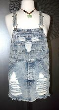 Acid Washed Distressed Overalls Mini Short DRESS Ripped S/M Small NWT Festival