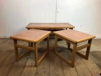Vintage Teak Nest of Coffee Tables with Orange Tile Top