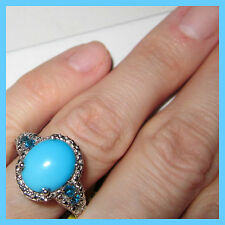 Sleeping Beauty turquoise 3.0 cts Neon Apatite Ring  Sterling Silver 925 sz 10