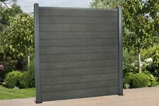 9 Lfm. WPC Zaun mit Alu- Pfosten (L 240 cm) Sichtschutzzaun Gartenzaun, Grau