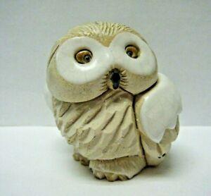 "Vintage #162 Uruguay Artesania Rinconada 2.5"" Snowy Baby Owl Figurine"