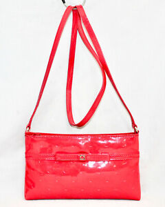 KATE SPADE WKRU2467 Camellia Street Amy Bow Crossbody Red Patent Embossed Circle