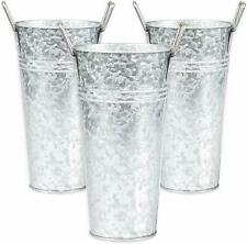 Country Farmhouse Set of 3 9 inch tall Metal Vases Decor Pieces